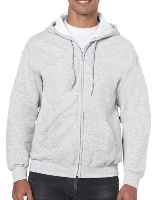 Gildan Heavy Blend Full Zip Hoodie 18600 Ash Grey