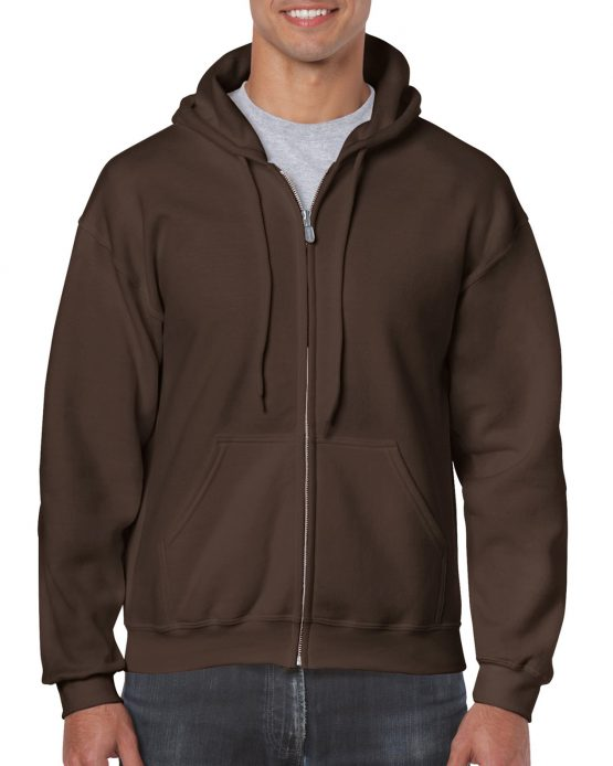 Gildan Heavy Blend Full Zip Hoodie 18600 Dark Chocolate