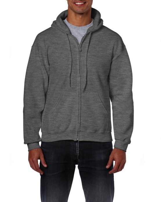 Gildan Heavy Blend Full Zip Hoodie 18600 Dark Heather