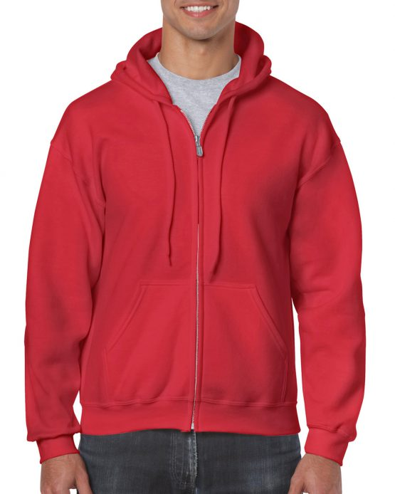 Gildan Heavy Blend Full Zip Hoodie 18600 Red