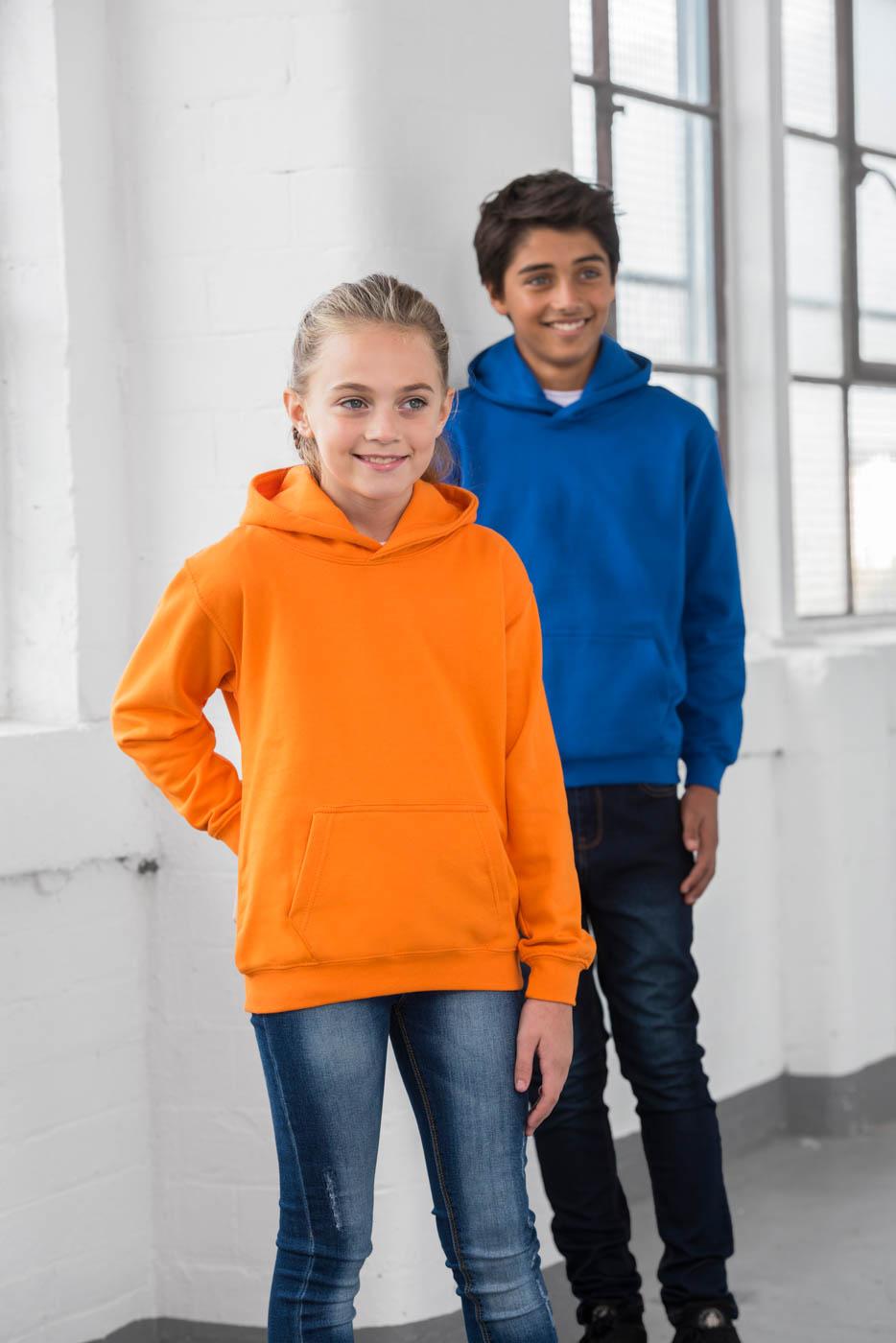 College hoodie voor kinderen bedrukken met tekst of logo