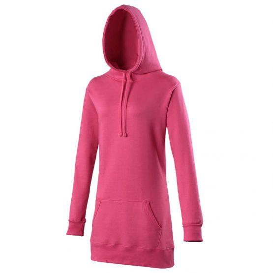 AWDis JH005 Girlie Longline Hoodie Hot Pink