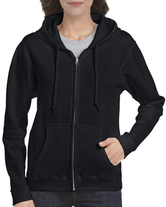 Gildan Heavy Blend Ladies Full Zip hoodie 18600FL Black