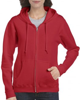 Gildan Heavy Blend Ladies Full Zip hoodie 18600FL Red