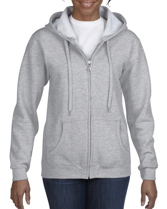 Gildan Heavy Blend Ladies Full Zip hoodie 18600FL Sport Grey