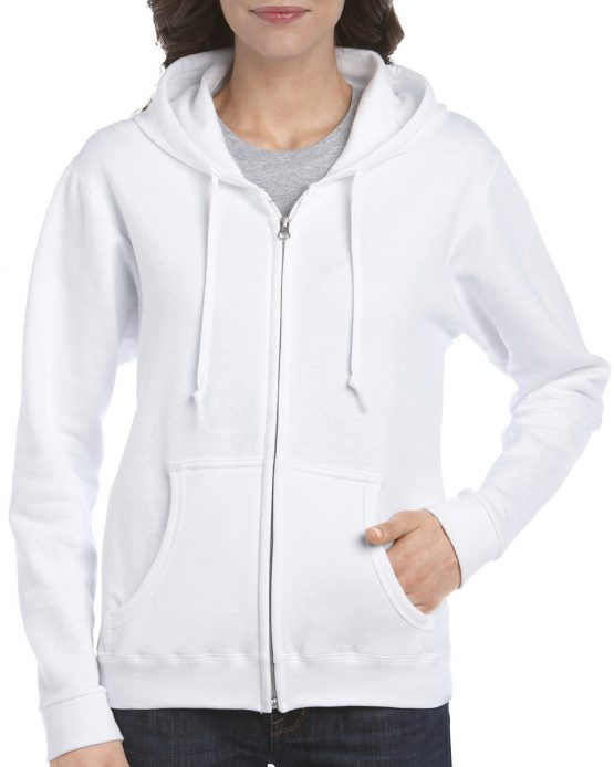 Gildan Heavy Blend Ladies Full Zip hoodie 18600FL White